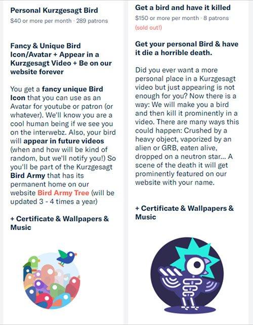 Patreon Bird Rewards